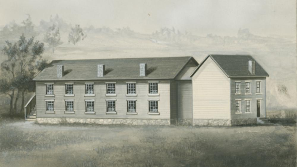 1840 drawing of Professor's House (right) with dormitory (left) attached.