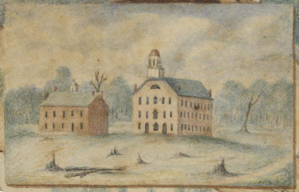 1833 painting of Seminary Building (left) and the first College Building by Cornelius Pering.