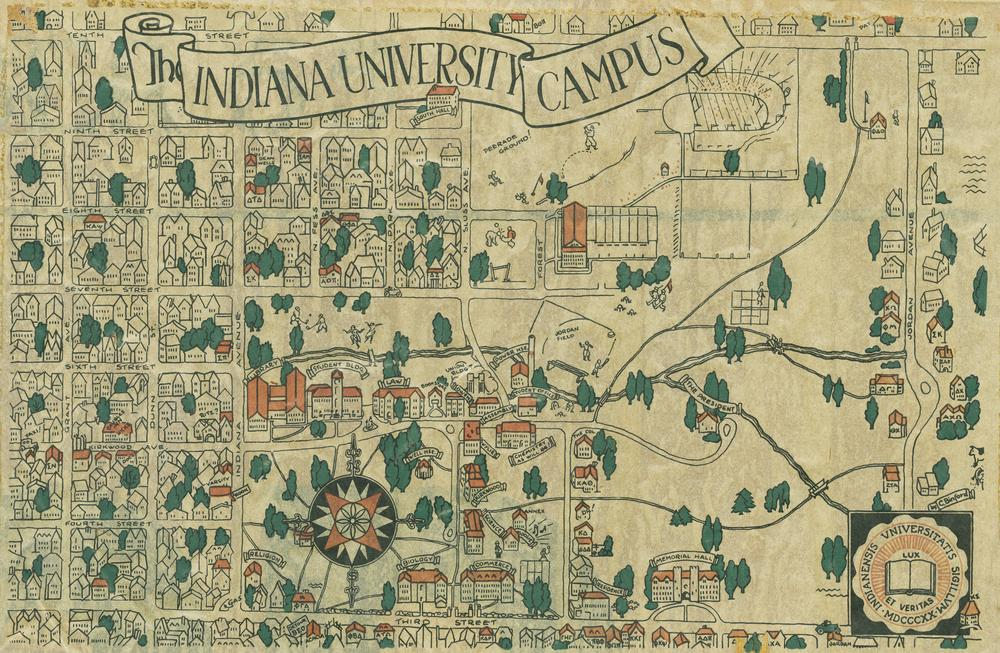 Indiana Campus Map.Archives Photograph Collection 1930 Campus Map