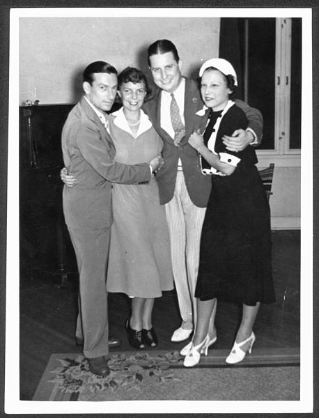 Hoagy Carmichael and Ruth Carmichael posing with Johnny and Ginger Mercer.