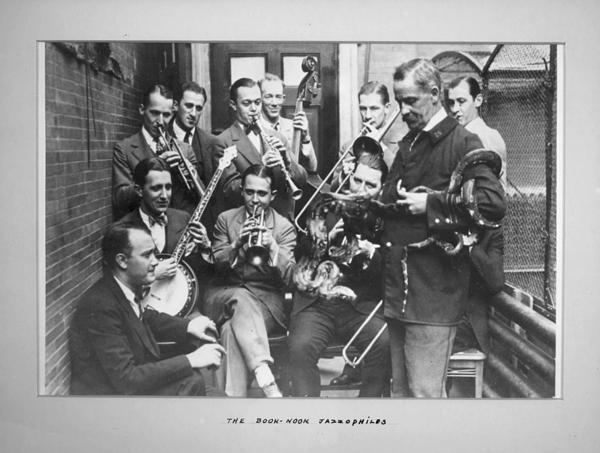 Book Nook Jazzophiles, including Bix Beiderbecke (playing cornet).