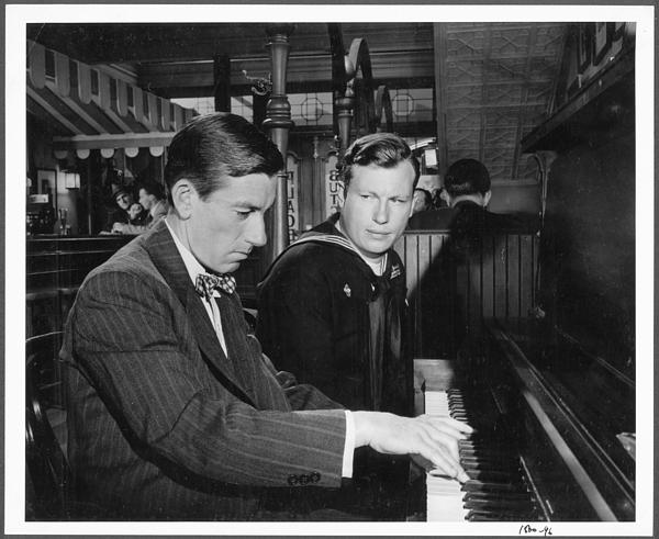 Hoagy Carmichael (at piano) in publicity shot from the film Best Years of Our Lives, 1946.