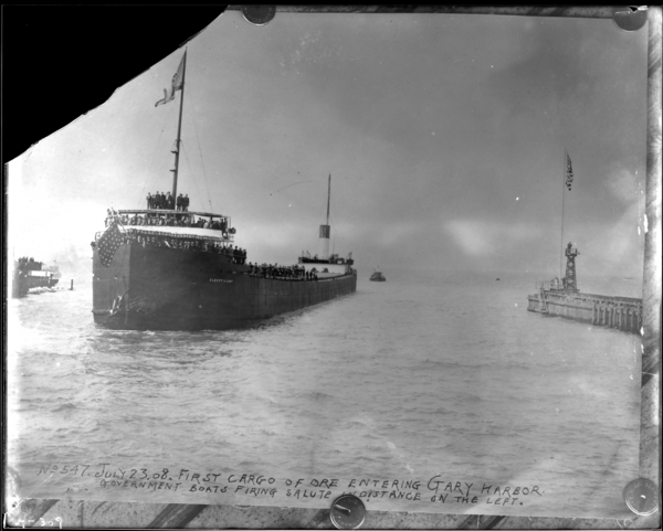 Reproduction, 1st Ore Boat Coming into Gary Harbor