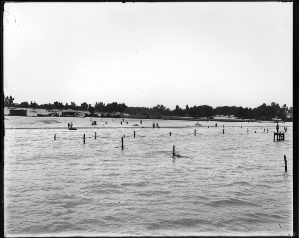 View of Bathing Beach Before Completed, Marquette Park