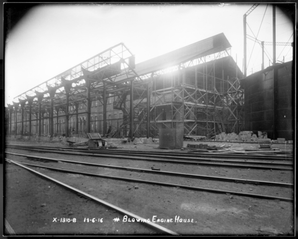 Looking S.W. from Blast Furnace Showing Gas Washer and Blowing Engine House