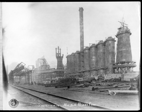 #3 and 4 Blast Furnaces Looking N.E. at #3 and 4 Furnaces