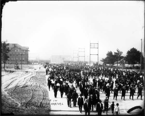 Parade on Broadway After Arrival of First Ore Boat