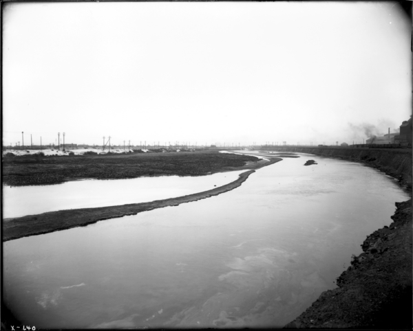 Calumet River. View Looking S.W. from North Band South of Roll Shop