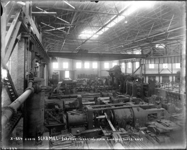 Slab Mill. Gen. View of Interior of Mill Looking N.E. from Crane in S.W. Corner of Engine Room