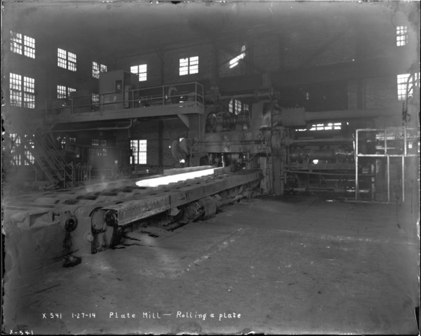 Plate Mill. Rolling a Plate, View Looking N.E.