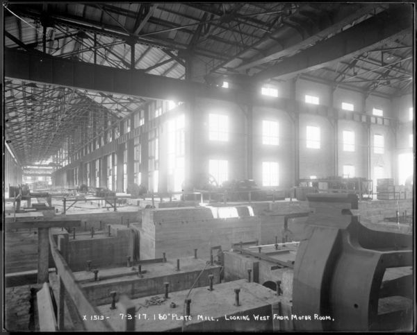 """160"""" Plate Mill, Looking West Down Finishing End"""