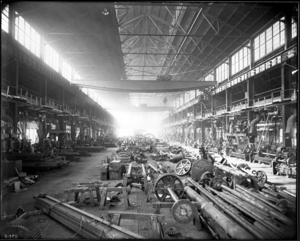Gen. View of Interior of Machine Shop, Looking West