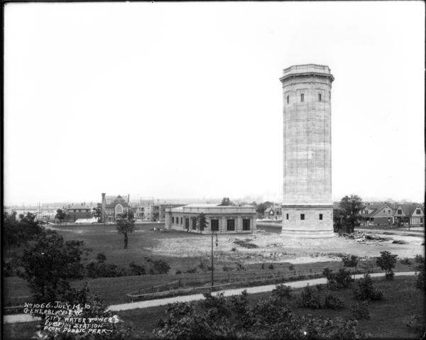 General View-City Water Works, Tower, and Pump Station from Jackson Park