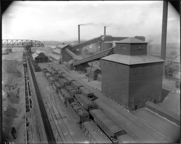 Coke Ovens. Coal Handling Dept.-Gen. View of Bldgs. Looking West from #1 Coal Bin