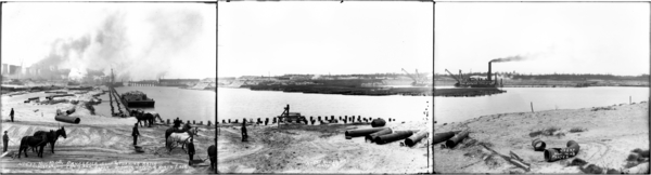 Panorama Slip and Turning Basin from the South, showing N and NE, Plates #1-3