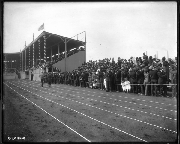 Gleason Park. Crowd from East of Grandstand