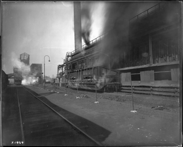 Coke Plant, Look N.W. at Coke Being Pushed from #2 Battery