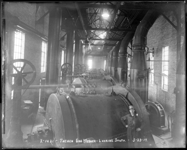 Looking South at Theisen Gas Washer for #1-2-3-4 Blast Furnaces