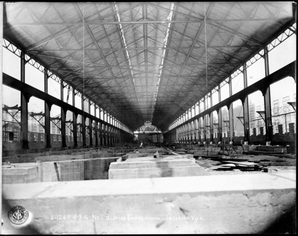 Looking N. at Interior of #1 Blowing Engine House