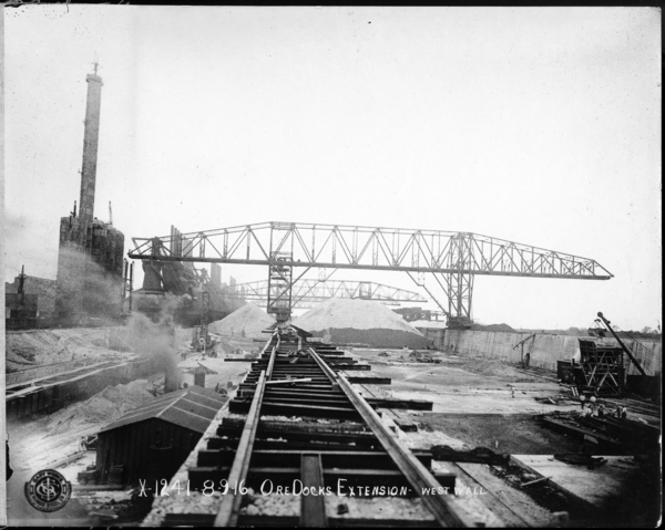 Ore Docks and Bridge to #4 Blast Furnace as Seen from W. Wall of Bins