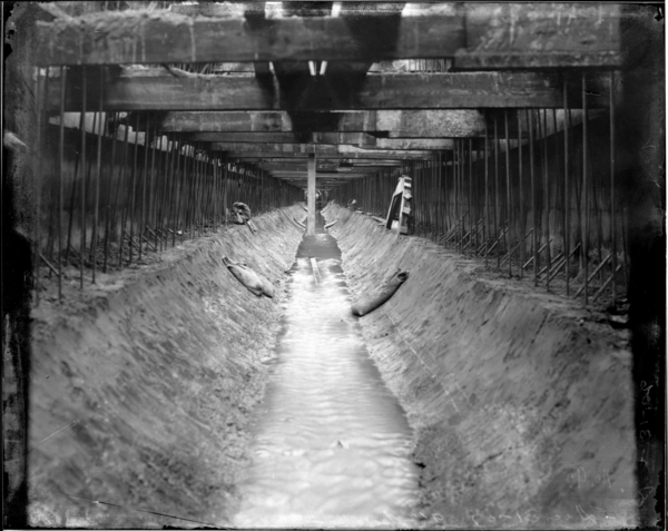 """Base of 96"""" Sewer Looking South from Channel Opening"""