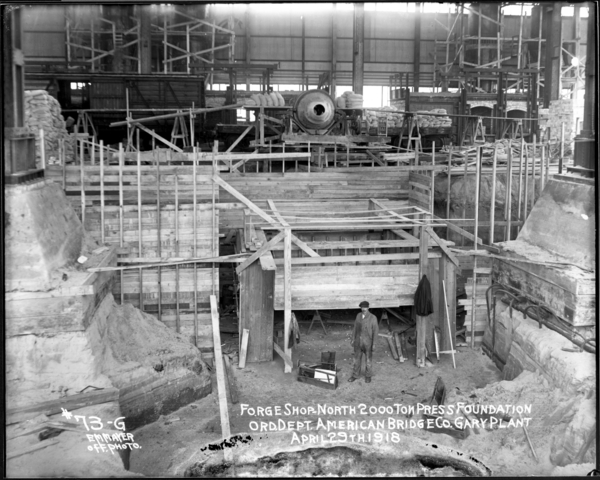 Forge Shop, North, 2000 Ton Press Foundation, American Bridge Co.