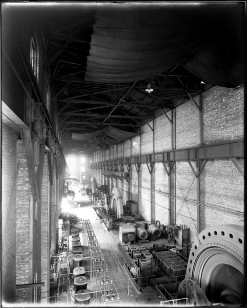 Rail Mill. View Looking East. Interior of North Motor Room