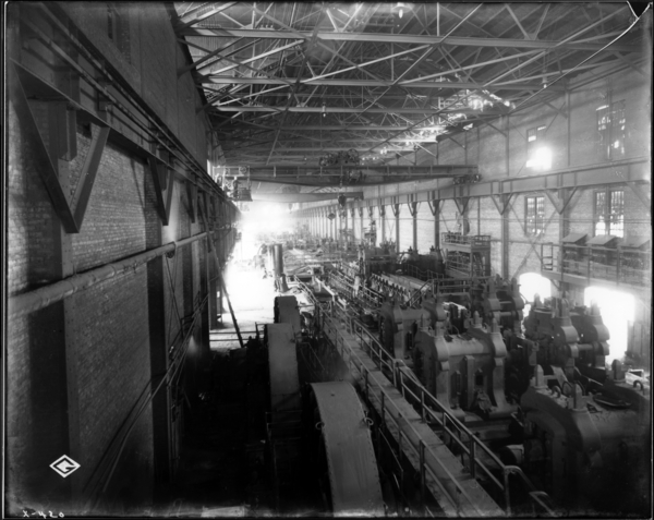 Rail Mill. View from Recorder's Office at East End of Mill, Looking N.W. at Mill Interior