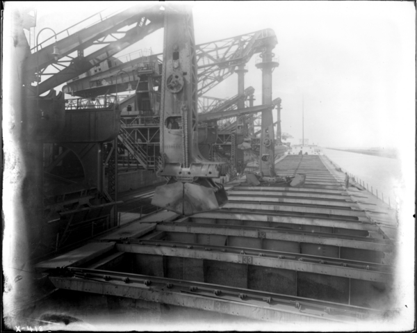 "Docks. View on Deck of Ship ""Harry Coalby"" Looking North at Unloaders Working"
