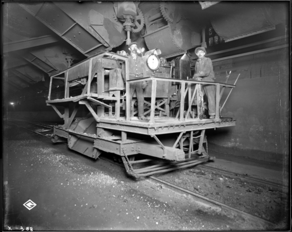 Blast Furnaces. View of Lorry Car and Crew in Blast Furnace Stockhouse