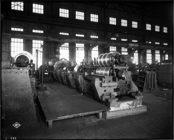 Roll Shop, Looking N.E. at Large Lathe Showing Gear Guards Removed