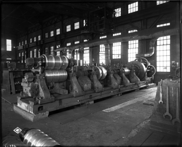 Roll Shop Looking N.W. at Big roll Lathe Showing Gear Guards Removed