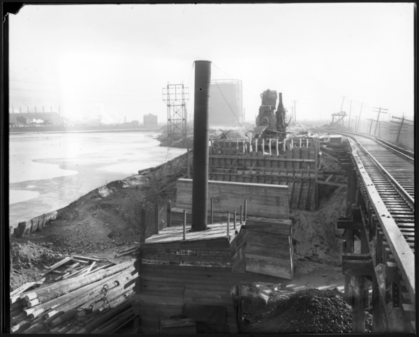 Construction of Bridge Under B. and O. and N.Y.C. and C.J. and C. Railways-Sheet Mill, ca. 1922