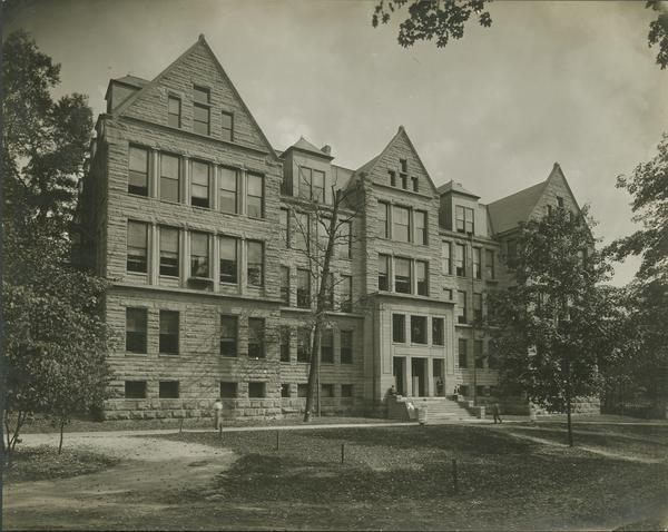 Black and white image of the front view of Lindley hall.