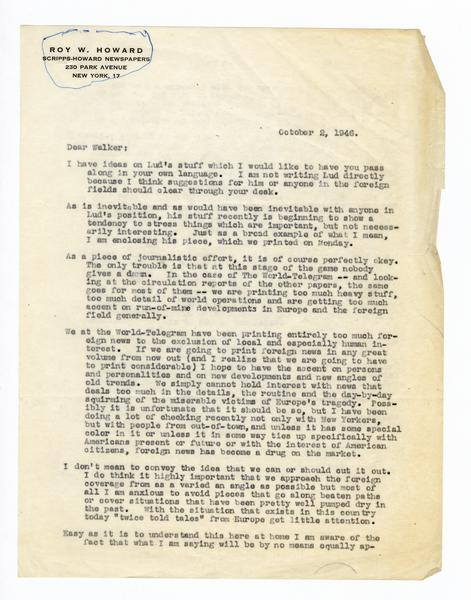 2 October 1946: To: Walker Stone  From: Roy W  Howard  | Roy