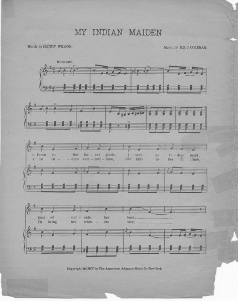 Coleman, Edward, Wilson, Harry H. My Indian maiden. New York: The American Advance Music Co., 1904.: Page 2 of 4