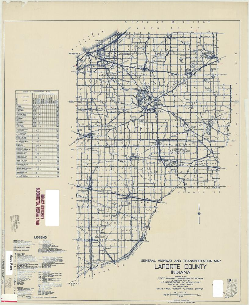 La Porte County Indiana Map.Image Collections Online General Highway And Transportation Map