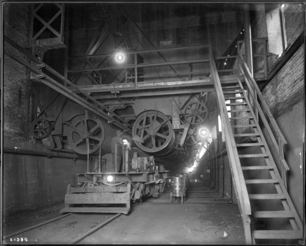 Blast Furnaces, Looking N. Interior of Stock House Scale Car at End of Pockets